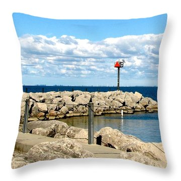 Sturgeon Point Marina On Lake Erie Throw Pillow