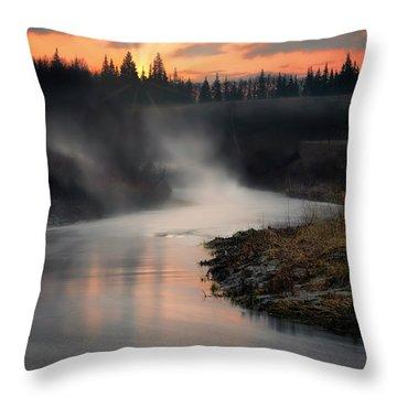 Sturgeon River Morning Throw Pillow
