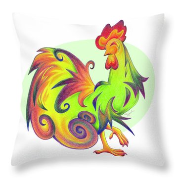 Stylized Rooster I Throw Pillow