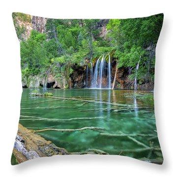 Throw Pillow featuring the pastel Submerged Log, Hanging Lake Colorado by Nathan Bush