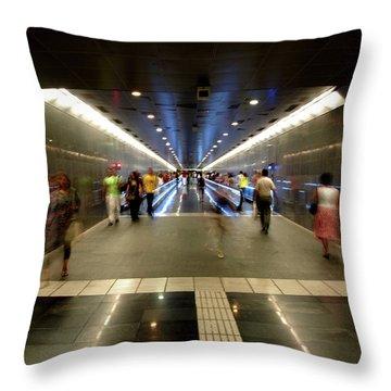 Subway Ghosts  Throw Pillow