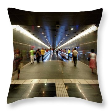 Throw Pillow featuring the photograph Subway Ghosts  by Edward Lee