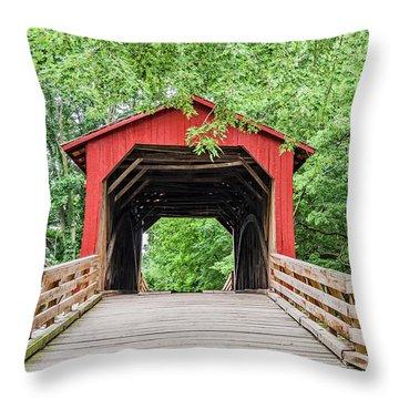 Sugar Creek Covered Bridge Throw Pillow