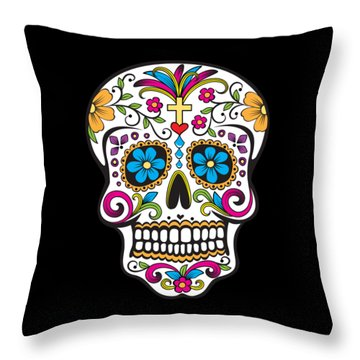 Throw Pillow featuring the digital art Sugar Skull Day Of The Dead by Flippin Sweet Gear