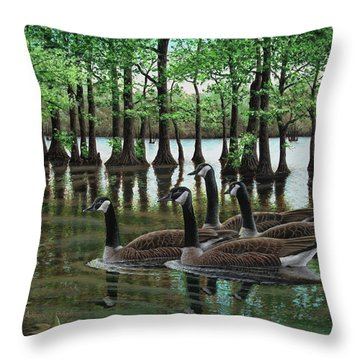 Summer Among The Cypress Throw Pillow