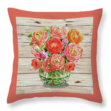 Summer Bouquet Ranunculus Flowers In The Glass Vase Throw Pillow