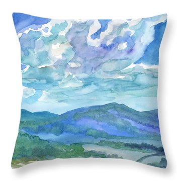 Throw Pillow featuring the painting Summer Clouds Landscape  by Dobrotsvet Art