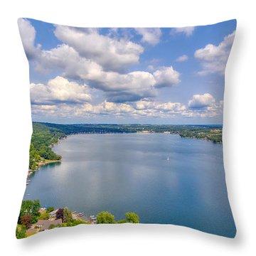 Summer Clouds On Keuka Lake Throw Pillow