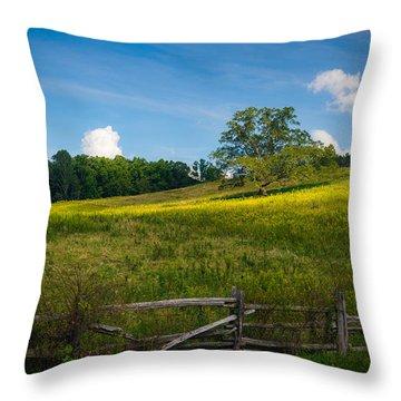 Blue Ridge Parkway - Summer Fields Of Yellow - Lone Tree Throw Pillow