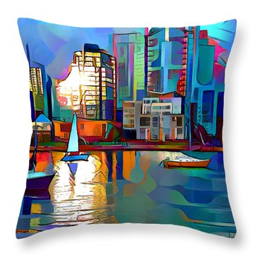 Throw Pillow featuring the digital art Summer In The City by Pennie McCracken