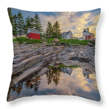 Summer Morning At Pemaquid Point Lighthouse Throw Pillow