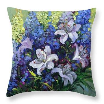 Summer Song Lily Garden Throw Pillow