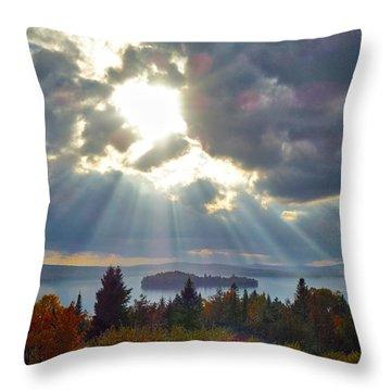 Sun Rays Over Rangeley Lake Throw Pillow