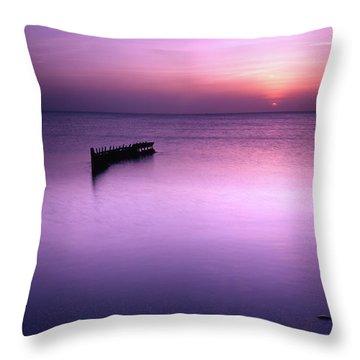 Sun Sets On A Sunken Boat Throw Pillow