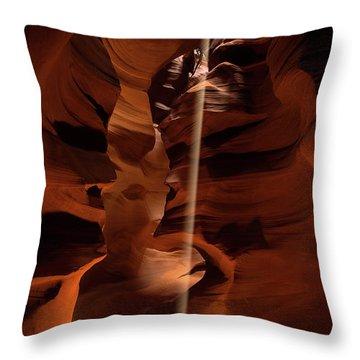 Sunbeam In Upper Antelope Canyon Throw Pillow