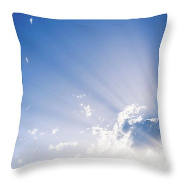 Sunbeams Rising From A Large Cloud In Intense Blue Sky On A Summer Afternoon Throw Pillow
