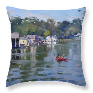 Sunday At The Canal Throw Pillow