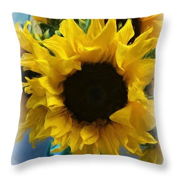 Sunflower Digital Painting  Throw Pillow