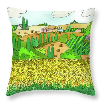Sunflower French Countryside Throw Pillow