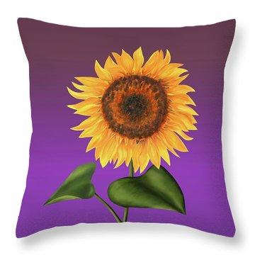 Sunflower On Purple Throw Pillow
