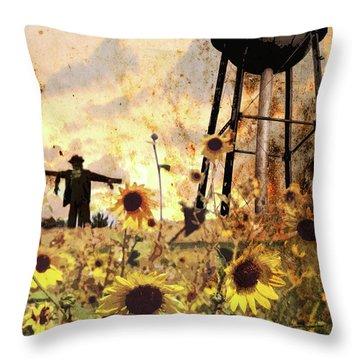 Sunflowers At Dusk Throw Pillow