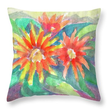 Throw Pillow featuring the painting Sunflowers by Dobrotsvet Art