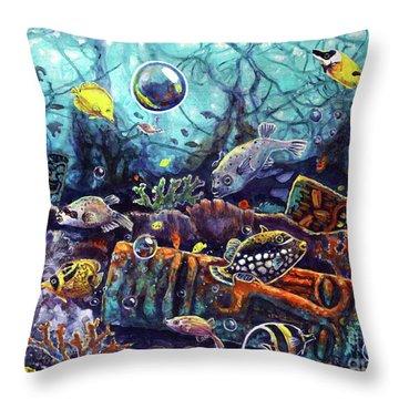 Sunken Tiki Reef Throw Pillow