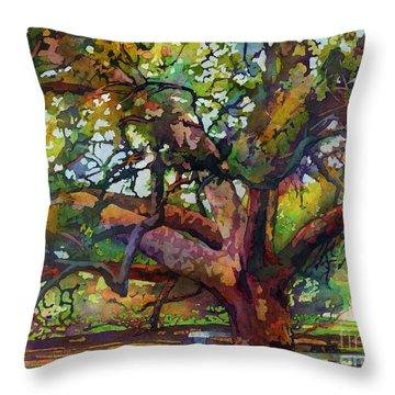 Sunlit Century Tree Throw Pillow