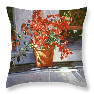Sunny Bougainvillea Throw Pillow