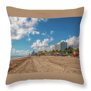 Sunny Day At Hollywood Beach Throw Pillow