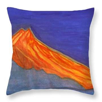 Throw Pillow featuring the painting Sunny Mountain Peak by Dobrotsvet Art