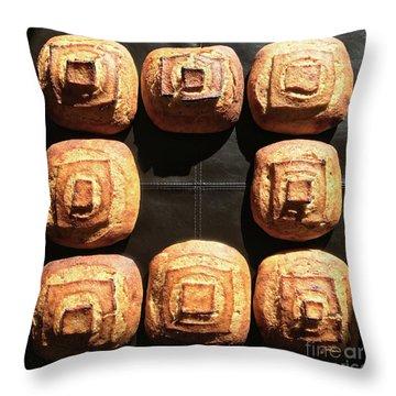 Sunny Sourdough Squares Throw Pillow