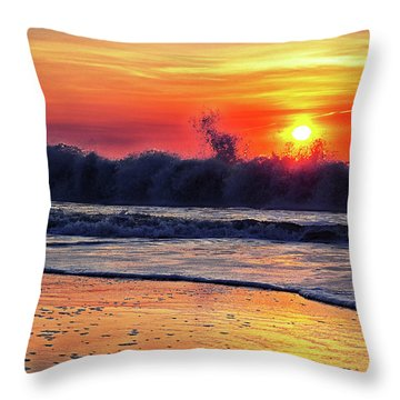 Throw Pillow featuring the photograph Sunrise At 142nd Street Beach Ocean City by Bill Swartwout Fine Art Photography