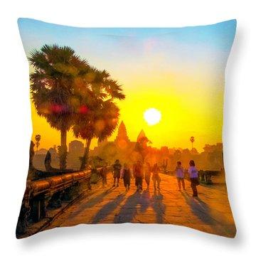 Sunrise At Angkor Wat, Cambodia Throw Pillow