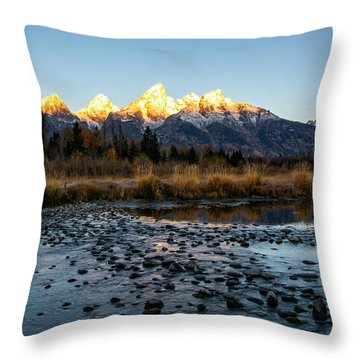 Throw Pillow featuring the photograph Sunrise At Schwabacher Landing by Scott Read