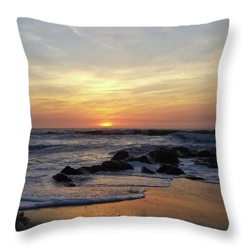 Sunrise At The 15th St Jetty Throw Pillow