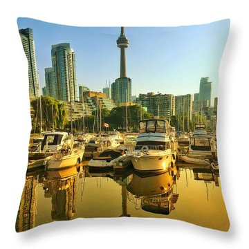 Sunrise At The Harbour Throw Pillow