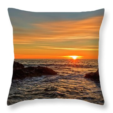 Sunrise By The Mediterranean Sea In Oropesa, Castellon Throw Pillow