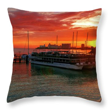 Sunrise In Cancun Throw Pillow
