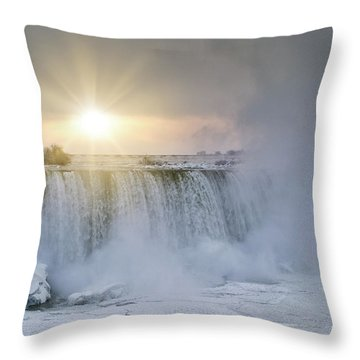 Sunrise In Niagara Falls Throw Pillow