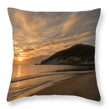 Sunrise On The Beach Of The Genoveses Of Cabo De Gata Throw Pillow