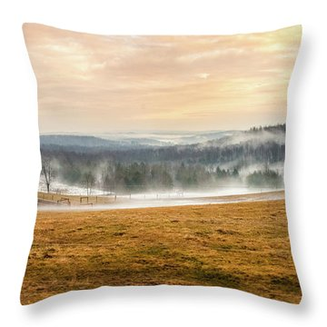 Sunrise On The Farm Throw Pillow