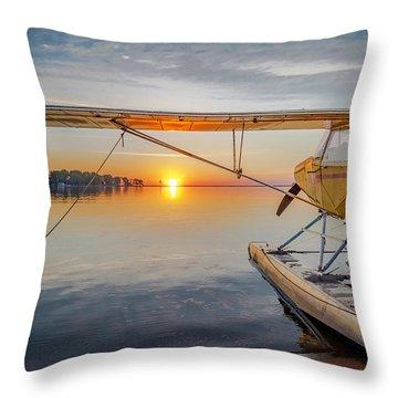 Sunrise Seaplane Throw Pillow