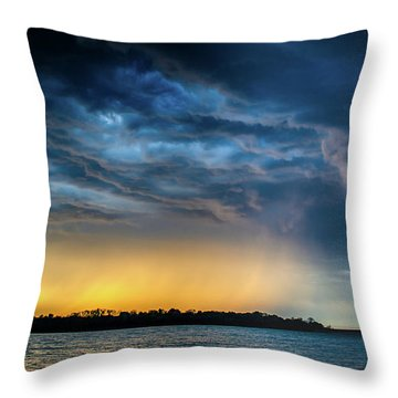 Throw Pillow featuring the photograph Sunrise Storm Pano by Jeff Phillippi
