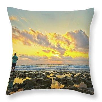 Sunrise Surf Fishing Throw Pillow
