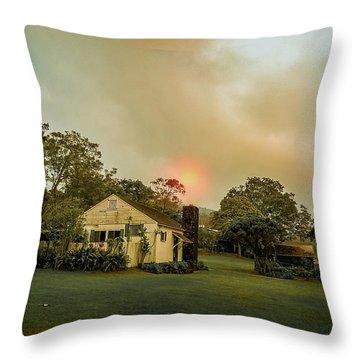 Sunrise Through The Haze Throw Pillow