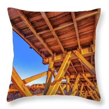 Sunrise Under The Sea Cabin Pier  Throw Pillow