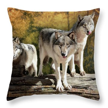 Sunrise Wolves Throw Pillow