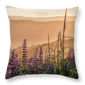 Sunset Among The Lupine Throw Pillow