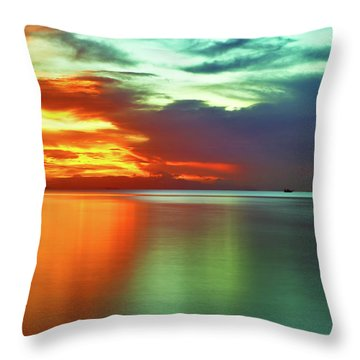 Sunset And Boat Throw Pillow